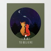 i want to believe Canvas Prints featuring I Want To Believe by Sutexii