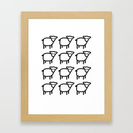 Cute Transparent Sheep Flock in Rows Monotone Light Framed Art Print