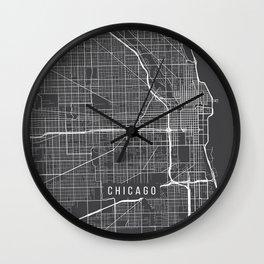 Chicago Map, USA - Gray Wall Clock