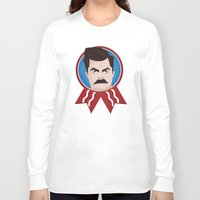 ron swanson Long Sleeve T-shirts featuring Ron Swanson by creative.court