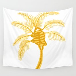 Skeleton Palm Tree White Wall Tapestry