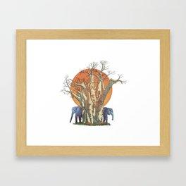 Elephants By Sunset Framed Art Print