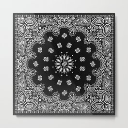 Bandana Black - Traditional Metal Print