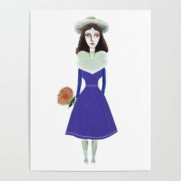 A girl in retro fashion Poster