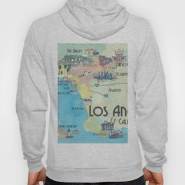 Greater Los Angeles Fine Art Print Retro Vintage Map with Touristic Highlights in colorful retro pri Hoody