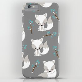 ARCTIC FOXES ON GREY iPhone Case