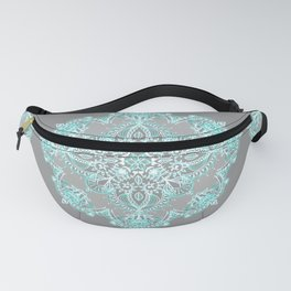 Teal and Aqua Lace Mandala on Grey Fanny Pack