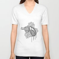 gun V-neck T-shirts featuring Gun by WithoutG
