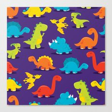 Cute Fun Dinosaurs Pattern Canvas Print