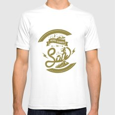 Here Comes The Son (Golden Boy Version) MEDIUM White Mens Fitted Tee