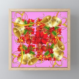 FESTIVE  GOLD BELLS PINK-RED CHRISTMAS ART Framed Mini Art Print