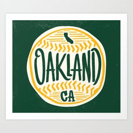 Hand Drawn Baseball for Oakland California with custom Lettering Art Print