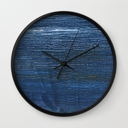 Metallic blue abstract watercolor background Wall Clock