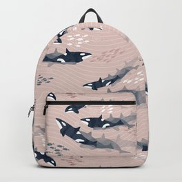 Orca in Motion / blush ocean pattern Backpack