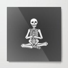Yoga Skeletons Charcoal Metal Print