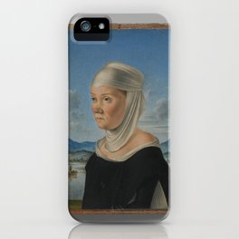 Portrait of a Woman, Possibly a Nun of San Secondo; (verso) Scene in Grisaille,ca. 1485–95 iPhone Case