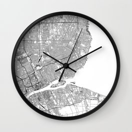 Detroit White Map Wall Clock