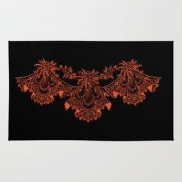 Vintage Lace Hankies Black and Flame Rug
