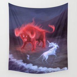 Unicorn and Bull Wall Tapestry