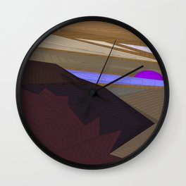 Psychedelic Magic landscap with stylised mountains, sea and violet Sun. Wall Clock