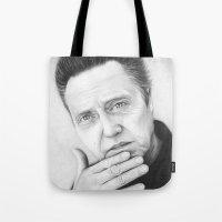 christopher walken Tote Bags featuring Christopher Walken Portrait by Olechka