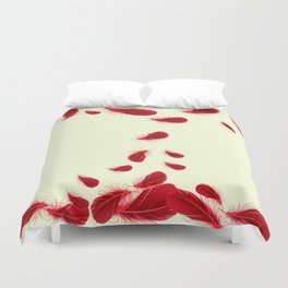 SURREAL FLOATING SCARLET RED FEATHERS Duvet Cover