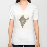 india V-neck T-shirts featuring India by Mariana Beldi