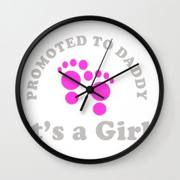 Promoted to Daddy It's a Girl Wall Clock