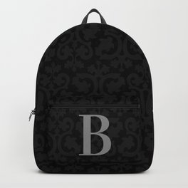 Modern Black Grey Damask Letter B Monogram Backpack