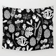 Linocut minimal botanical boho feathers nature inspired scandi black and white art Wall Tapestry