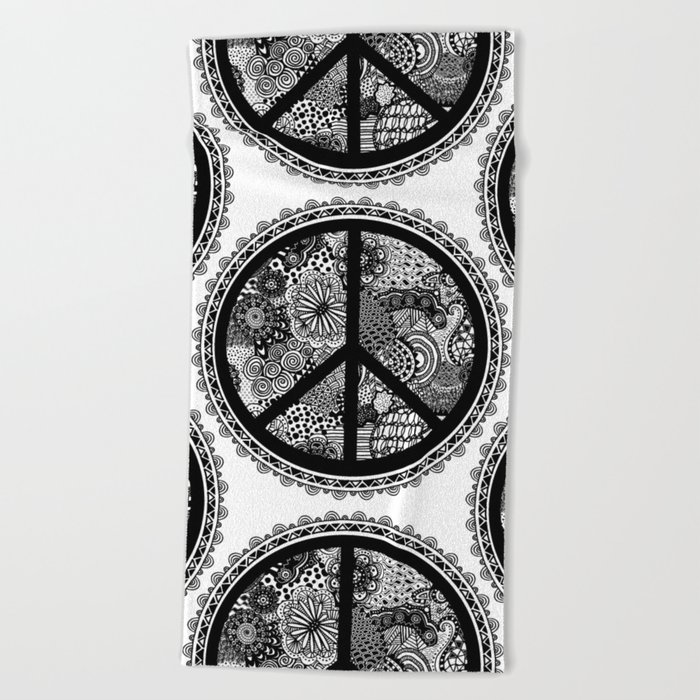 Zen Doodle Peace Symbol Black And White Beach Towel By