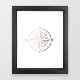 Rose Gold Compass Framed Art Print