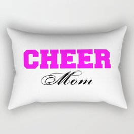 Cheer Mom Typography in Pink and Black Rectangular Pillow