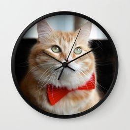 Hobbes in bow tie Wall Clock