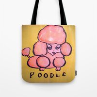 poodle Tote Bags featuring poodle by helendeer