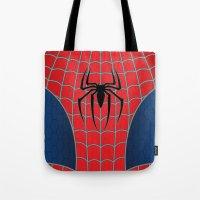 spider man Tote Bags featuring Spider-Man by C.Rhodes Design