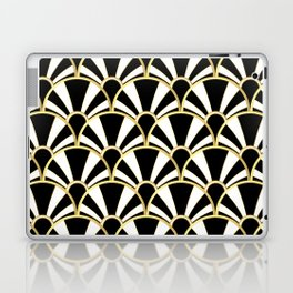 Black, White and Gold Classic Art Deco Fan Pattern Laptop & iPad Skin
