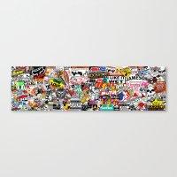 sticker Canvas Prints featuring Sticker Bomb by SOPHIA FREITAS