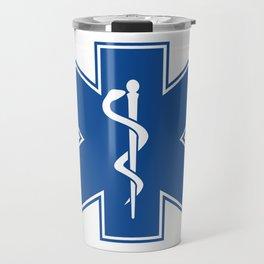 EMT Health Care Rod of Asclepius Blue Star of Life Medical Symbol Travel Mug