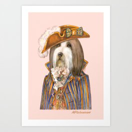 Monsieur Bearded Collie Art Print