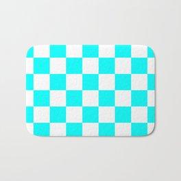 Checkered - White and Aqua Cyan Bath Mat