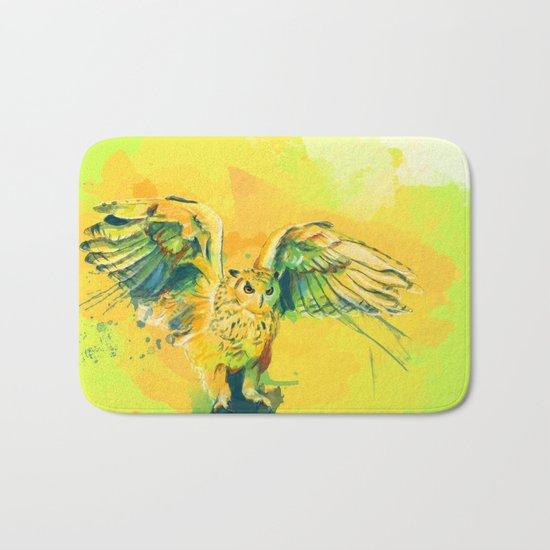 Silent Wings - Owl painting Bath Mat