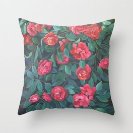 Camellias, lips and berries. Throw Pillow