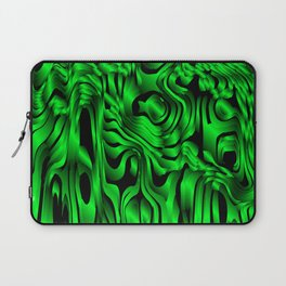 Magical flowing green avalanche of lines with dark. Laptop Sleeve