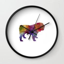 English Bulldog in watercolor Wall Clock