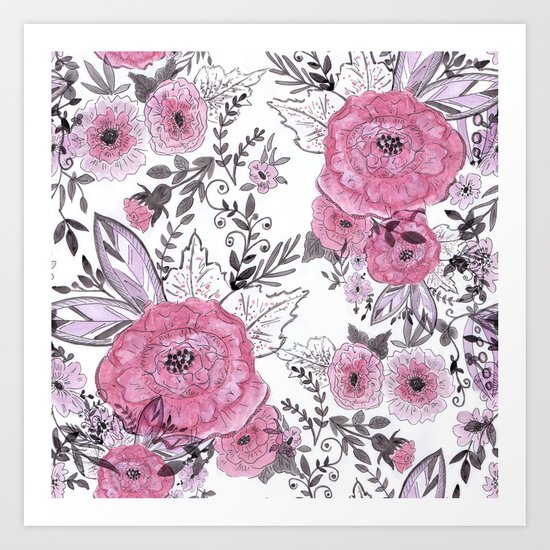 Watercolor roses with black and gray leaves . Art Print