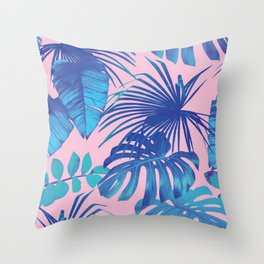 tropical leaf pattern pink  Throw Pillow