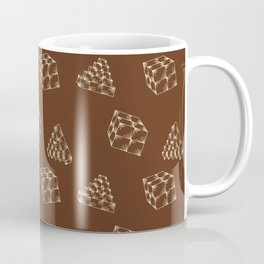 the pyramids and cubes on a brown background . artwork Coffee Mug