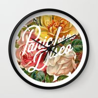 panic at the disco Wall Clocks featuring Panic! at the disco round vintage flowers by Van de nacht