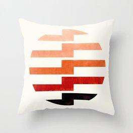 Minimalist Mid Century Circle Frame Burnt Sienna Zig Zag Colorful Lightning Bolt Geometric Pattern Throw Pillow